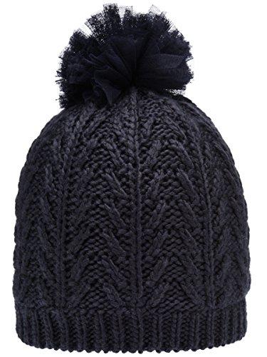 NAME IT Mädchen Mütze Sky Captian Grau Schwarz Mini NITMALUKI Strick Winter Bommel HAT - Größe: 50/51 (Captian Hat)