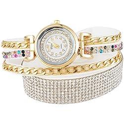 SSITG Women Quartz Wrap Bracelet Wristwatch Analog Rhinestone Colours 40cm