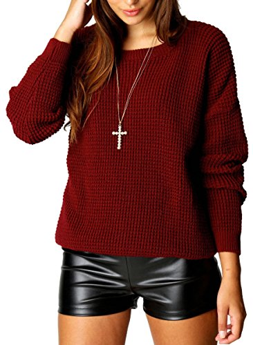 Crazy Girls Womens Ladies Baggy Long Sleeve Knitted Plain Chunky Top Sweater Jumper S-XL (S/M, Wine)