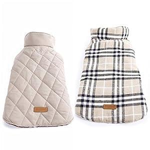 Veste Manteau d'Hiver Imperméable Réversible Chaud à Carreaux pour Chien S Beige