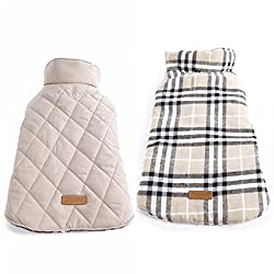 Imported Pet Dog Waterproof Reversible Plaid Jacket Coat Winter Warm Clothes Beige L