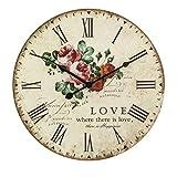 XIAOLVSHANGHANG Clock Runde Wanduhr, American Retro Industriellen Stil Wohnzimmer Schlafzimmer Hängen Tisch Restaurant Kreative Uhr Stumm Uhr Dekoration Uhr 40 cm (Farbe : A)