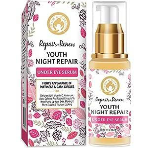 Mom & World Repair + Renew Youth Night Repair Under Eye Serum, With Vitamin C, Caffeine, Hyaluronic Acid for Under Eye Skin Repair and Dark Circles, 25 ml (MOMWLD42)