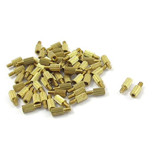 SODIAL(R) 50 Pcs Male to Female Thread Brass Pillars Standoff Spacer M2x5mmx8mm
