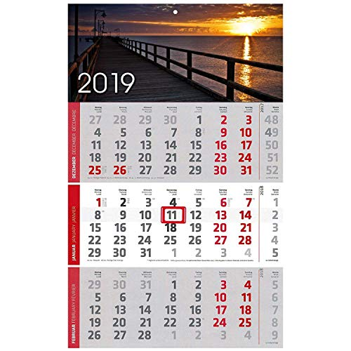 1 Stück Motiv Steg 3 Monats Wandkalender 2019 Kalender Officekalender Bürokalender Wandplaner