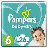 Pampers Baby-Dry Windeln Größe6 (13-18kg), Luftkanäle für atmungsaktive Trockenheit die ganze Nacht, Sparpack, 1er Pack (1 x 26 Stück)