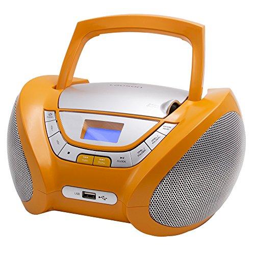 Lauson CP447 CD-Radio mit CD MP3 USB Player Tragbares Kinder Radio Boombox tragbarer CD Player, Orange