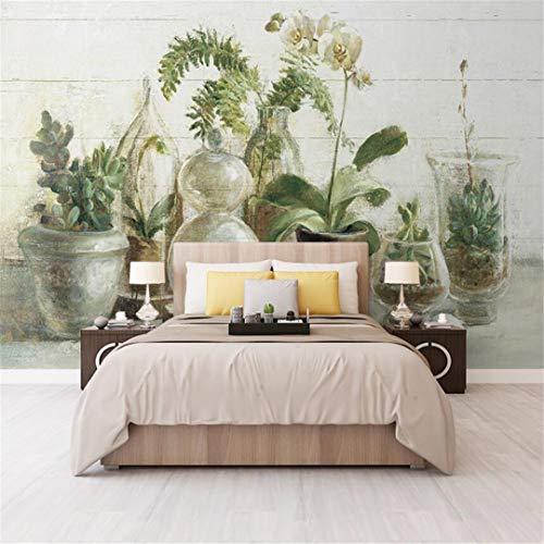 3D Vliesstoff Wallpaper Mediterrane Orchidee Blumentopf Ansicht Topf Wohnzimmer Tv Hintergrundbild Sofa Nahtlose Tapete Große Wandbild, 400Cm * 280Cm