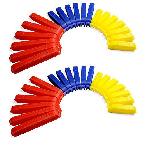 Verschluss-Klammern / Verschluss-Clips bunt, 40 Stück im Set, Aroma-Clips für Küche zum praktischen Verschließen von Tüten, Farbe: Rot / Blau / Gelb - Marke YOUZiNGS (Clip-verschluss)