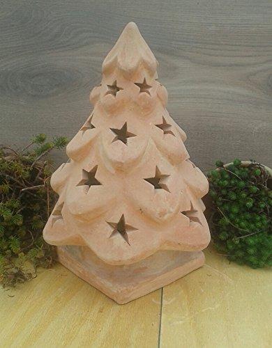Weihnachtsbaum 40 cm, beleuchtbar aus Terracotta Deko Garten Weihnachten Stern Motiv Windlicht Advent