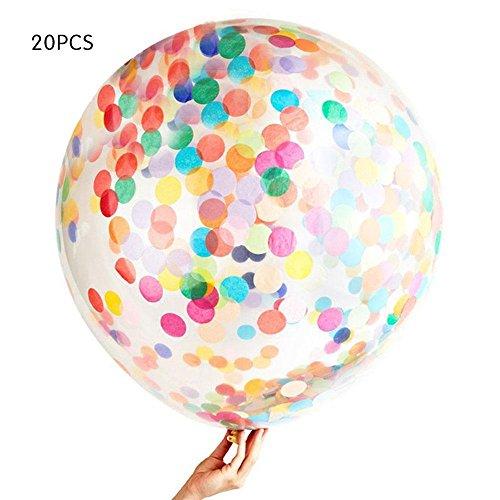 AOLVO - Globos de Confeti Pastel, 20 Unidades, 30 cm, diseño de Confeti, de látex, iridiscentes, prerellenos, Redondos, para Bodas, cumpleaños, Decoraciones de Fiesta de Novia, Fiestas de Compromiso