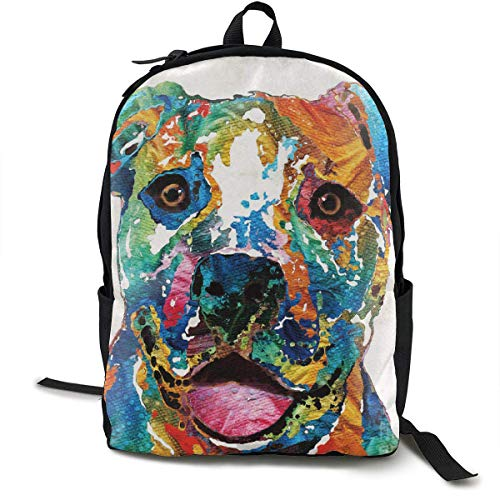 Einst Colorful Happy Dog Pit Bull Rucksack with Side Pockets, Reisening & Camping Backpack Large Capacity Schule Shoulder Book Bags Multipurpose Anti-Theft Shoulder Bag -