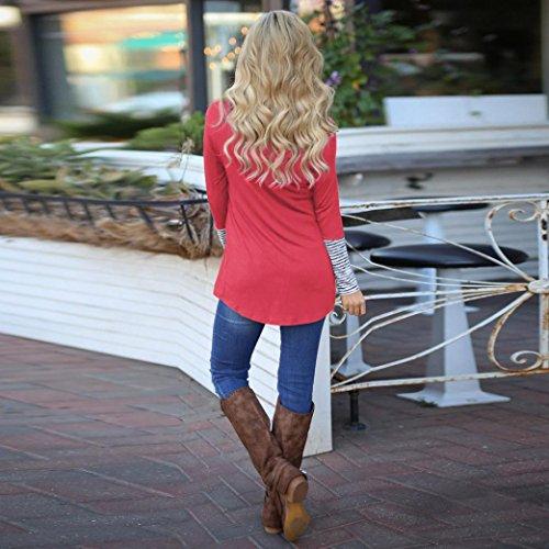 Camicetta Donna Rcool Casuale Banda Maglietta Maglia manica lunga O collo Tops T shirt Primavera e autunno Rosso