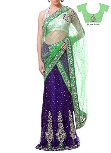 Fashionista Purple Net Lehenga Saree Size :Free Size Color : Purple  available at amazon for Rs.7834