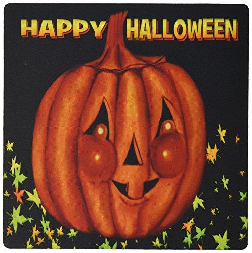 3drose LLC 20,3x 20,3x 0,6cm Happy Halloween Orange Kürbis Gruß, Cheeky jackolatern mit Schwarz Hintergrund und Fall Blätter Mauspad (MP _ 153692_ 1)