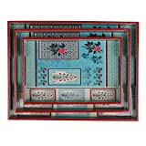 #8: Home Tunes Wooden Tray - Set of 3, Mughal Garden print in Aqua Colour