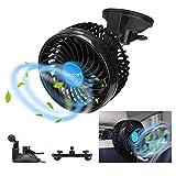 Ventilador usb Coche Portatil Electrico Silencioso 12V Mini Fan de 360 Grados Rotativo 2 Soportes Velocidad ajustable