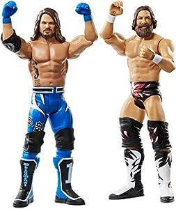WWE - Pack 2 figuras de acción luchadores AJ Styles vs Daniel Bryan con accesorios de lucha Juguetes niños +6 años (Mattel GBN65)
