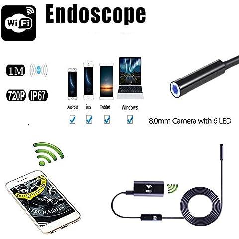 Endoscopio USB, a prueba de agua serpiente HD Video Microscopio WiFi de la cámara endoscopio endoscopio Con 6 LED se enciende para la Samsung Android y IOS smartphone y el ordenador (1M