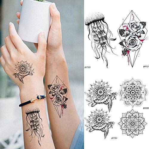 Kamrl tattoo adesivi adesivo tatuaggio temporaneo impermeabile tartaruga medusa tatoo nero tatuaggio geometrico fiore rosa donne falso braccio