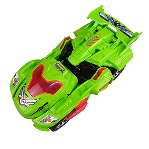 Detrade 2019 Neu Transforming Kreative Musik Licht Dinosaurier Verformung Auto LED Car with Light Sound Kids Toy (Green)