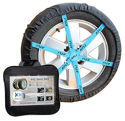 Jshanmei® réglable anti Neige Chaussettes Pneu de voiture Chaînes à neige Alternative antidérapant d'hiver d'adhérence Auto Sock, ajustement pour la plupart de voiture/SUV/camion