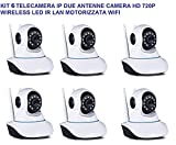 pcstore-online KIT 4 TELECAMERA IP DUE ANTENNE CAMERA HD 720P WIRELESS LED IR LAN MOTORIZZATA WIFI RETE INTERNET