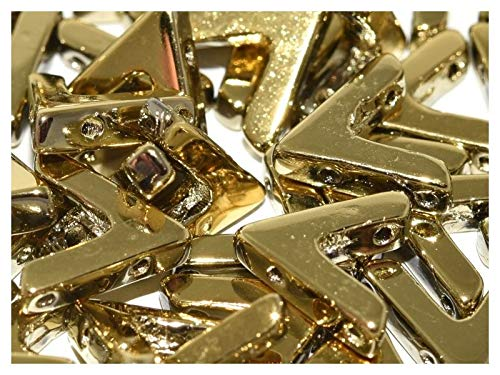 10pcs AVA Bead - Tschechische Gepresste Glasperlen V-förmig 10x4x3 mm, drei Löcher, Crystal Amber Full (Light Gold Metallic)