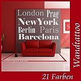 Wandtattoo Wand Tattoo Städte Namen London Berlin...Sticker Wohnzimmer,Flur Diele Größe 59cm x 42cm in 21 Farben (siehe Farbtabelle)