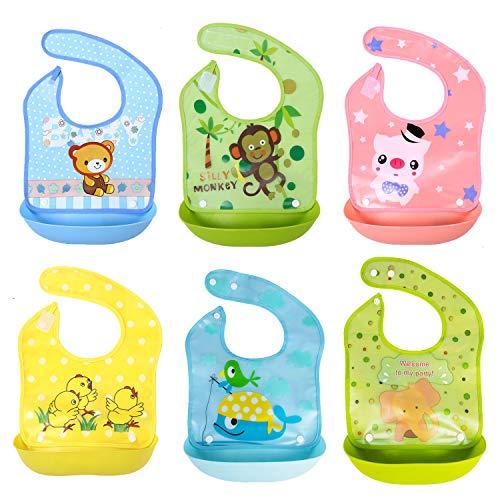 SLOSH 6 Bavaglini Impermeabili Bavaglino Pappa Waterproof Neonato Neonati Neonata Bimba Bimbo Bambino Bibs Bambina con Tasca
