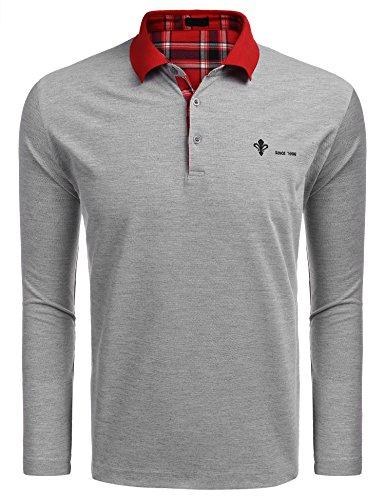 Burlady Poloshirt Herren Langarm Einfarbig Polo Kragen Basic Shirt Sport Casual Freizeit Polohemd für Männer Grau XL