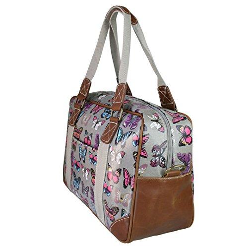 Miss LuLu Modern Schultaschen Cross-Body Tasche Schule Öltuch Handbag Wasserdicht Damen L1106-Schmetterling/Grau