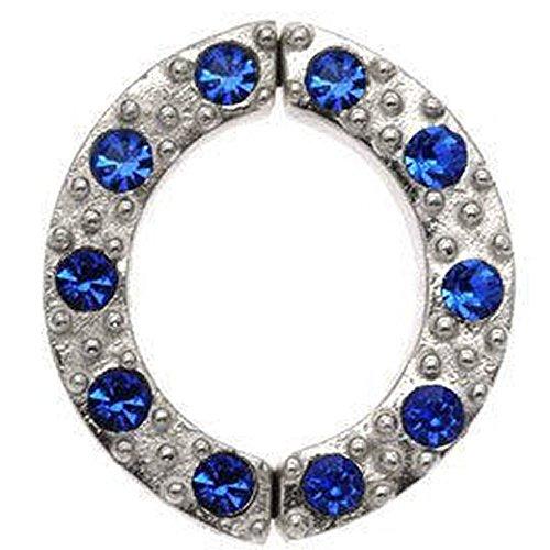 Nicht Piercing Silber Nipple Clamp - Blaue Edelstein