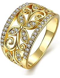 AMDXD Schmuck Vergoldet Damen Ringe (Eheringe) Hohlen Design Weiß Schmetterling Form Gr.57 (18.1)