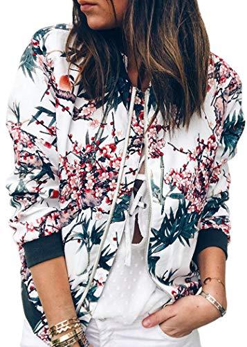 ECOWISH Damen Casual Jacke Blumenmuster Langarm Bomberjacke Reißverschluss Stehkragen Outwear Kurz Coat Herbst Frühling Blau L