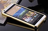 D-kandy Luxury Metal Bumper + Acrylic Mirror Back Cover Case For HTC DESIRE 828 828 DUAL - GOLD