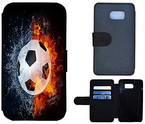 Flip Cover Schutz Hülle Handy Tasche Etui Case für (Apple iPhone 6 / 6s, 1144 Buddha Lotusblume Braun Pink) 1152 Fußball Fussball Weiß Schwarz Orange
