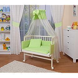 WALDIN Cuna colecho para bebé con equipamiento completo, lacado en blanco, 8 colores a elegir,verde