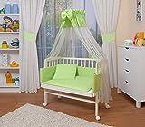 WALDIN Baby Beistellbett komplett mit Ausstattung, höhen-verstellbar, Buche Massiv-Holz weiß lackiert, 16 Modelle wählbar,grün/weiß