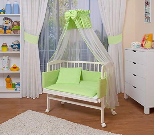 WALDIN Baby Beistellbett mit Matratze und Nestchen, höhen-verstellbar, 16 Modelle wählbar, Buche Massiv-Holz weiß lackiert,grün