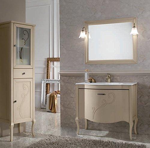 STAI Luxus Badezimmermöbel || Badmöbel || Programm Bestehend Aus Unterschrank, Waschtisch Aus Glas, Und Led-Spiegel Mit Beleuchtung || Lackierte Oberfläche Aus Mdf-Holz -