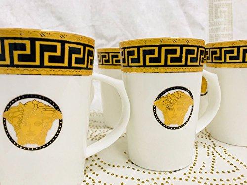 Medusa Cappuccino Set Kaffee Becher für 6 Personen Tassen Geschirr Porzellan