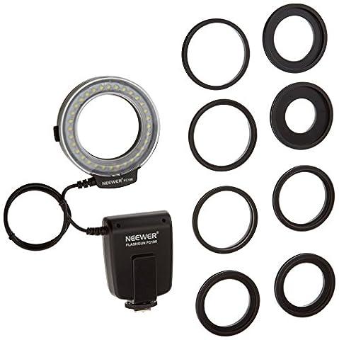 Neewer FC100 32 Super heller LED-Makro Ringblitz für Canon, Nikon, Olympus, Pentax SLR-Kameras (geeignet für 52, 55, 58, 62, 67, 72, 77mm Objektive) Canon EOS Rebel T1i (500D), T2i (550D) (400D), XTI (350D), 60D, 50D, 40D, 30D, 20D, 10D, 1D, 5D Mark 2, 5D Mark 3, Nikon D7000, D3200, D3100, D5100, D5000