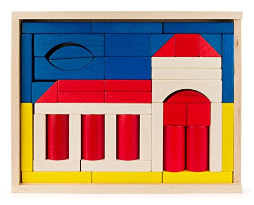 Baukasten Kirche bunt mit 48 Teilen, Spielzeug aus Holz, Geschenk für Kinder, von DREGENO SEIFFEN - Original erzgebirgische Handarbeit -