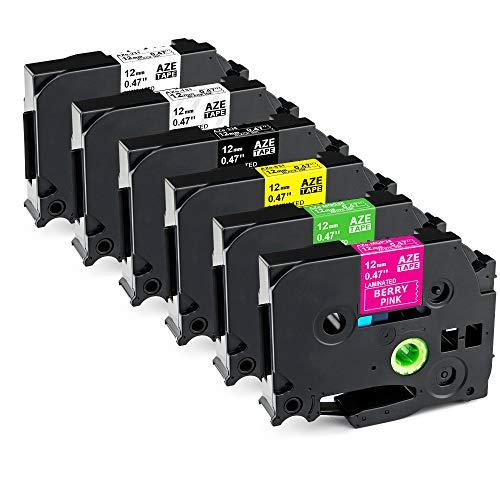 Greateam Kompatible schriftband als Ersatz für Brother P-Touch Schriftband TZ-231 TZ-335 TZ-131 TZ-631 TZ-MQP35 TZ-MQG35 12mm 6 farben für Brother P-Touch PT-H100lb PT-H105 PT-1010 PT-1080 PT-D400vb
