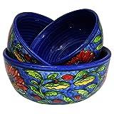 khurja Keramik handgefertigt verziert Keramik Mehrzweck-Servieren Schalen oder Verwendung Schalen oder mischen Schalen Aufbewahrung für Nüsse, Obst, Snacks und Dessert Servieren oder gleichen Aufbewahrungsbox Multi Größe Set von qty-3 Art Deco Size:- A- 8, B- 6.5, C- 5.5 Inch blau