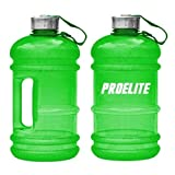 ProElite V2 Half Gallon Bottle BCAA Pre Workout Water Jug, 2.2 Litre, Green
