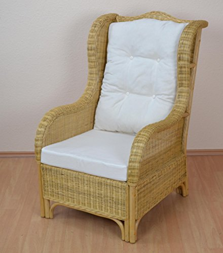 Preisvergleich Produktbild moebel direkt online Sessel _ Rattansessel handgeflochten,  Nostalgiesessel _ beige _ mit Kissenauflagen