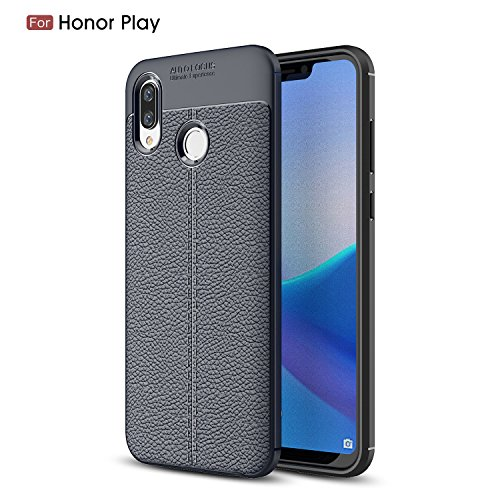 CruzerLite Honor Play Custodia, Flexible Slim Case with Leather Texture Grip Pattern and Shock Absorption TPU Cover for Huawei Honor Play (Blue)
