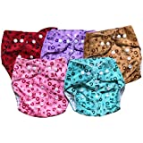 Chinmay Kids High Quality Reusable & Washable Button Diapers With Pockets - One Size Adjustable Diaper Pants For Toddlers & Infants (Pack Of 5) WOP